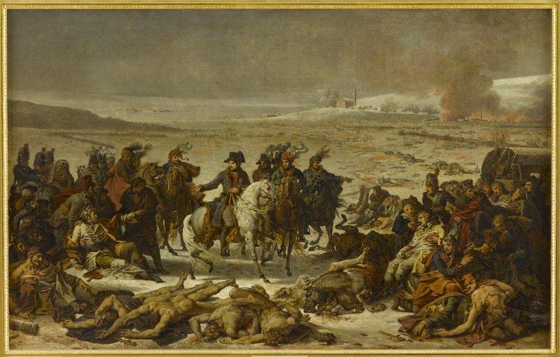 Napoleon parcourant le champ de bataille deylau 9 février 1807