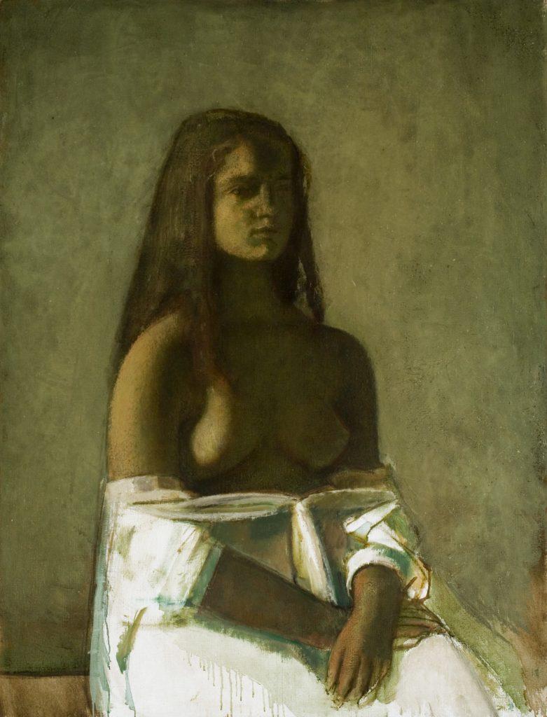 Balthus (dit), Balthasar Klossowski de Rola (1908-2001), Jeune Fille à la chemise blanche, 1955 Huile sur toile, Collection of The Pierre and Tana Matisse Foundation.