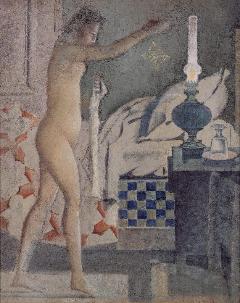 Balthus (dit), Balthasar Klossowski de Rola (1908-2001), La Phalène, 1959-1960 Caséine et tempera sur toile, Paris, Centre Pompidou - Musée national d'art moderne - Centre de création industrielle.