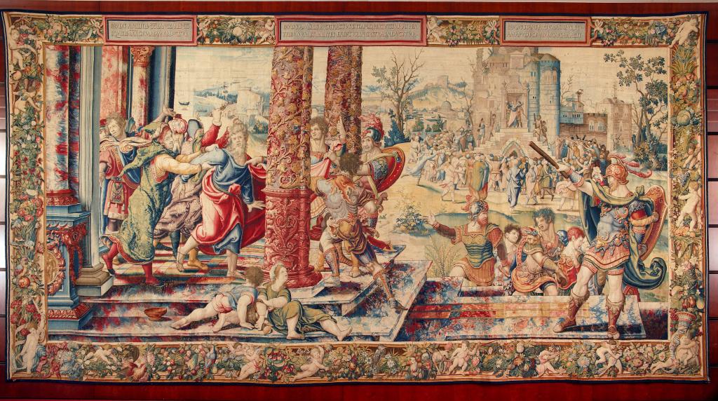 Wilhelm de Pannemaker sur les dessins de Pieter Coecke van Aelst, l'Arrestation de saint Paul, KBC Bank, Louvain