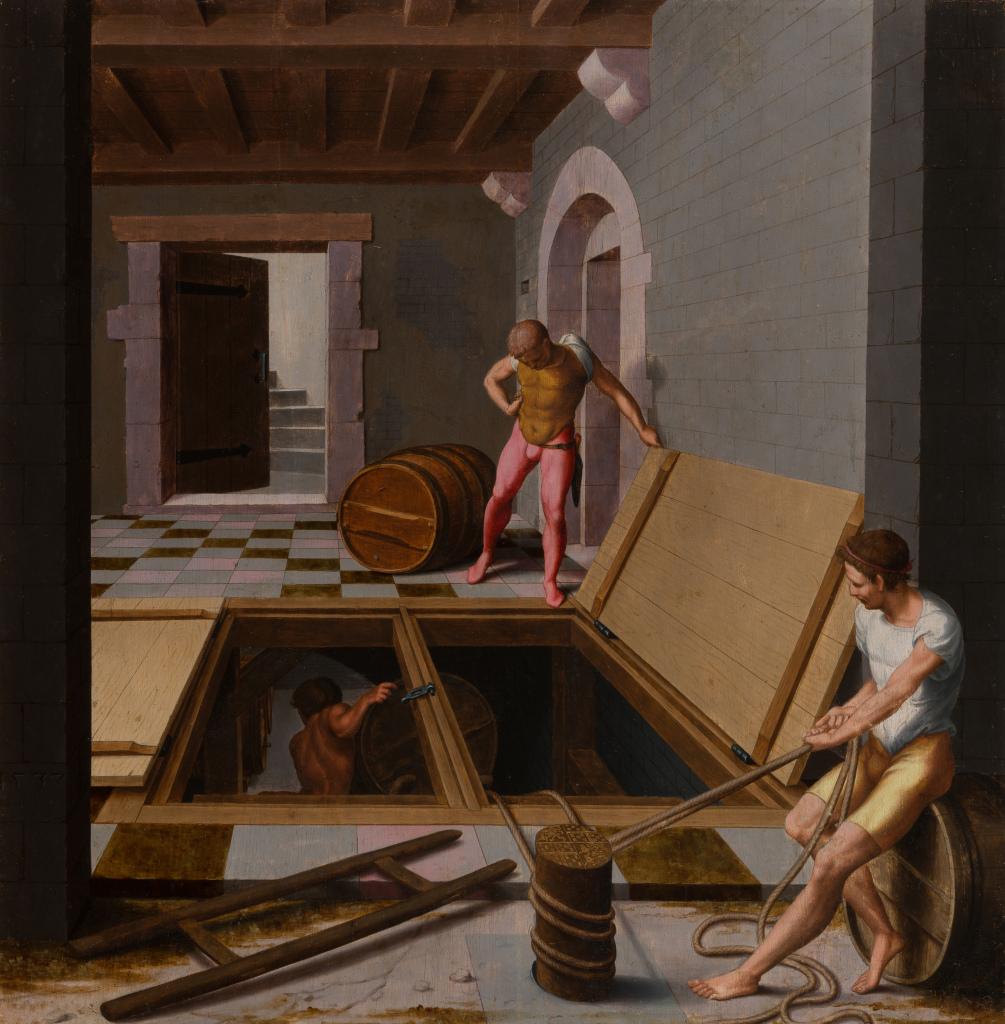 Maître de Dinteville (Bartholomeus Pons?), Trois hommes descendant des tonneaux dans une cave