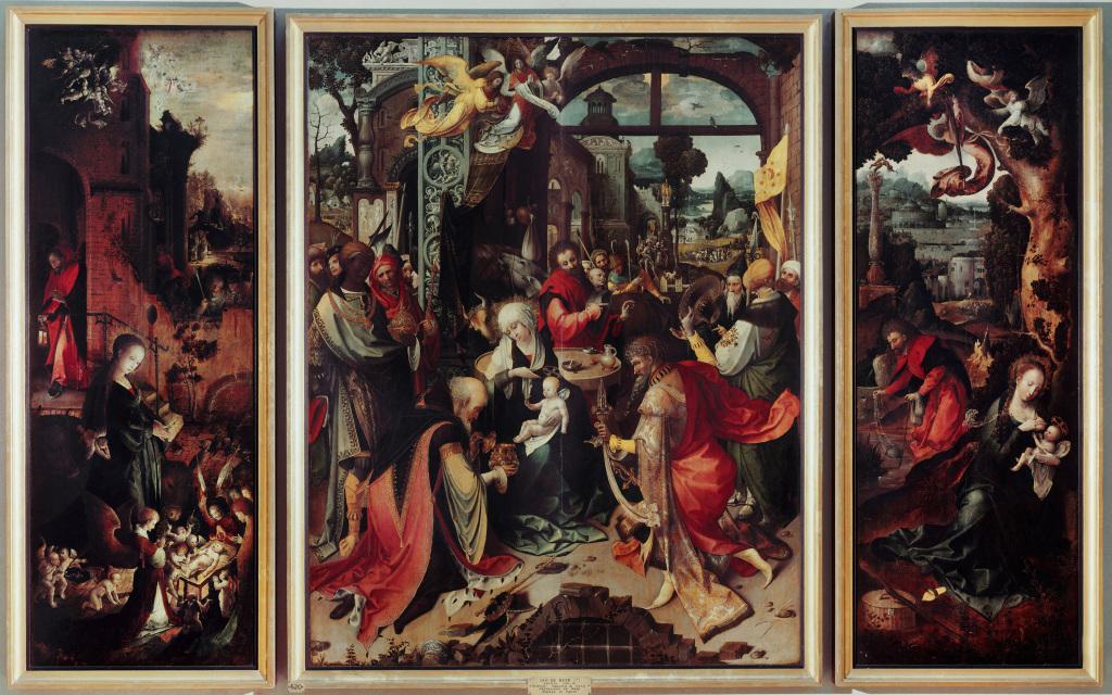 Jan de Beer, Triptyque de l'Adoration des Mages, avec la Nativité et la Fuite en Egypte