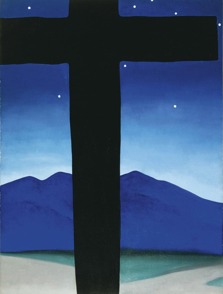 O'Keeffe Georgia Black Cross With Stars and Blue 1929 - Au dela des etoiles, le paysage mystique de Monet a Kandinsky - Musee d'Orsay Paris