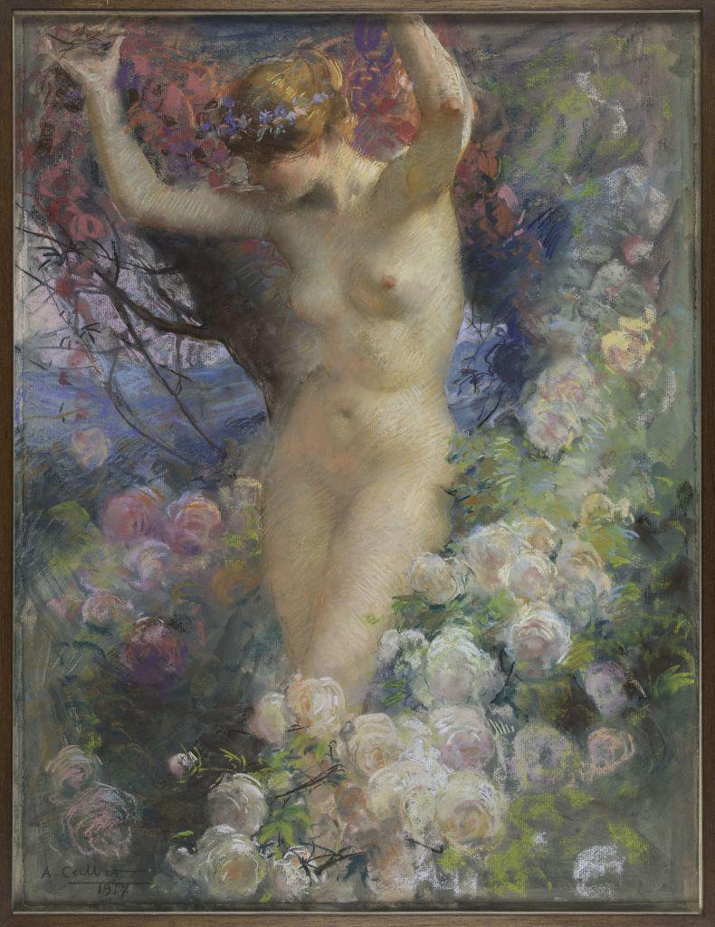 Antoine Calbet, Parmi les roses, 1917 - L'art du pastel de Degas à Redon au Petit Palais
