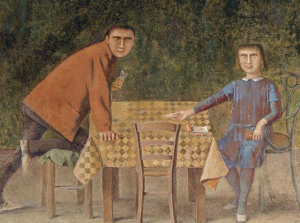 Balthus (1908-2001), Les Joueurs de cartes, 1968-1973 - Exposition Derain, Balthus, Giacometti au Musee d'Art Moderne de Paris 2017
