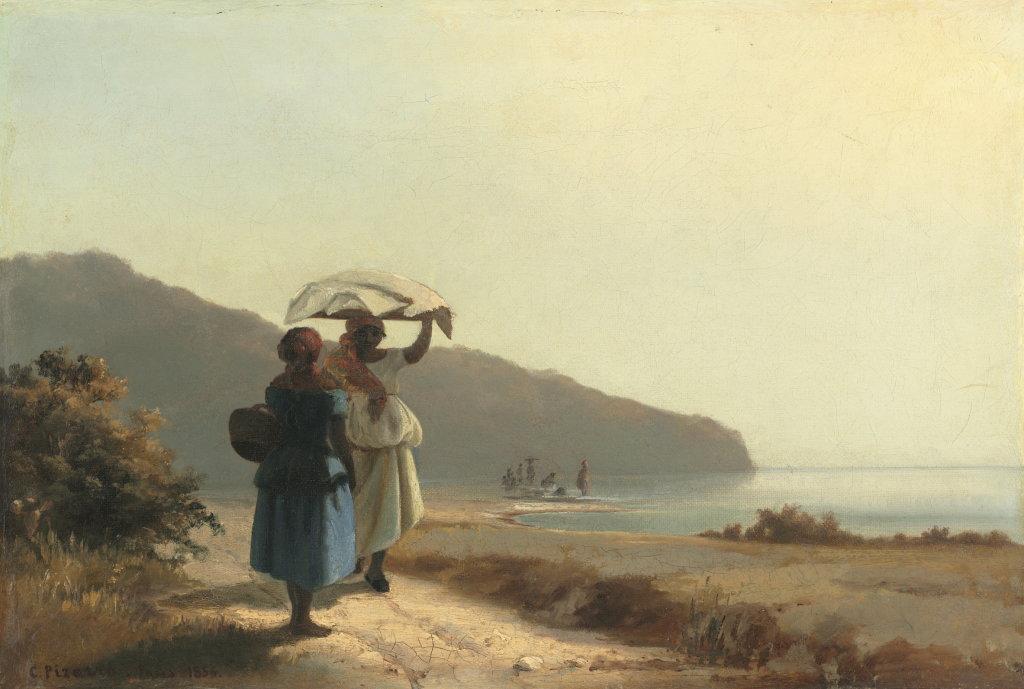 Camille Pissarro, Deux Femmes causant au bord de la mer, 1856 - Exposition Camille Pissarro, Le premier des impressionnistes au Musée Marmottan Monet