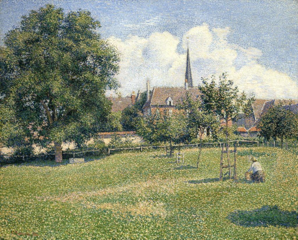 Camille Pissarro, La Maison de la sourde et le clocher d'Éragny, 1886 - Exposition Camille Pissarro, Le premier des impressionnistes au Musée Marmottan Monet
