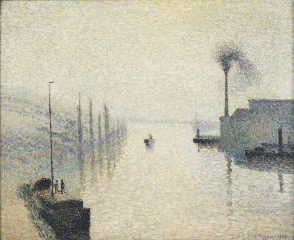 Camille Pissarro, La Seine à Rouen, l'île Lacroix, effet de brouillard, 1888 - Exposition Camille Pissarro, Le premier des impressionnistes au Musée Marmottan Monet