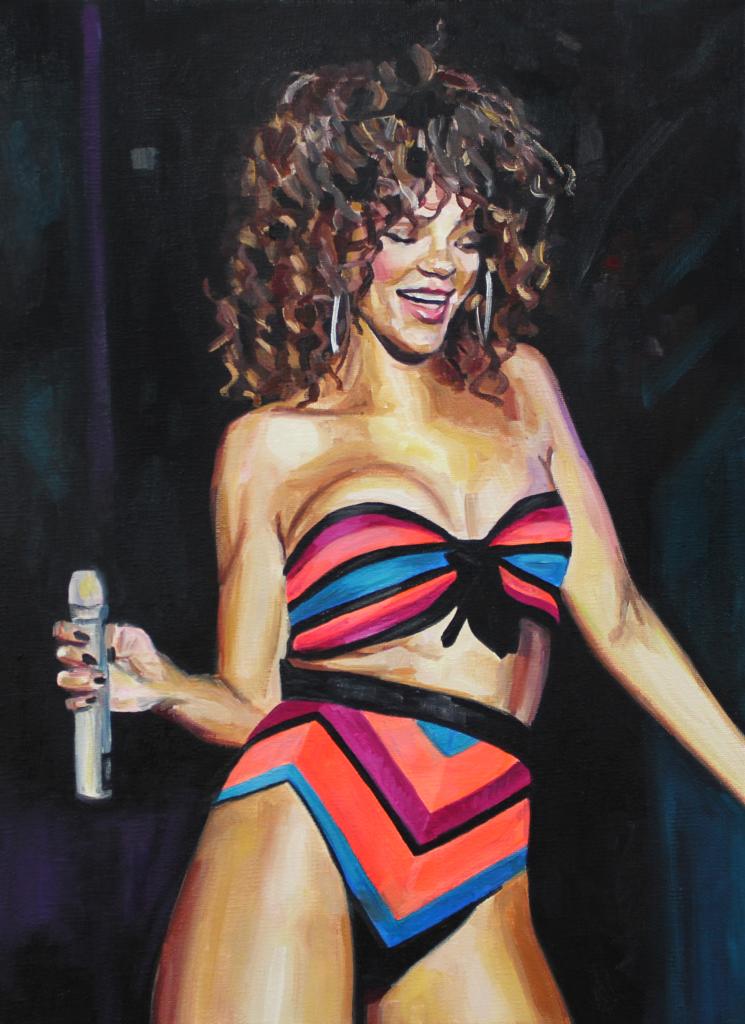 Les femmes s'en melent Ditte Ejlerskov,The Sexy Bikini Dance Painting, 24 x 43 cm, huile sur toile, 2013