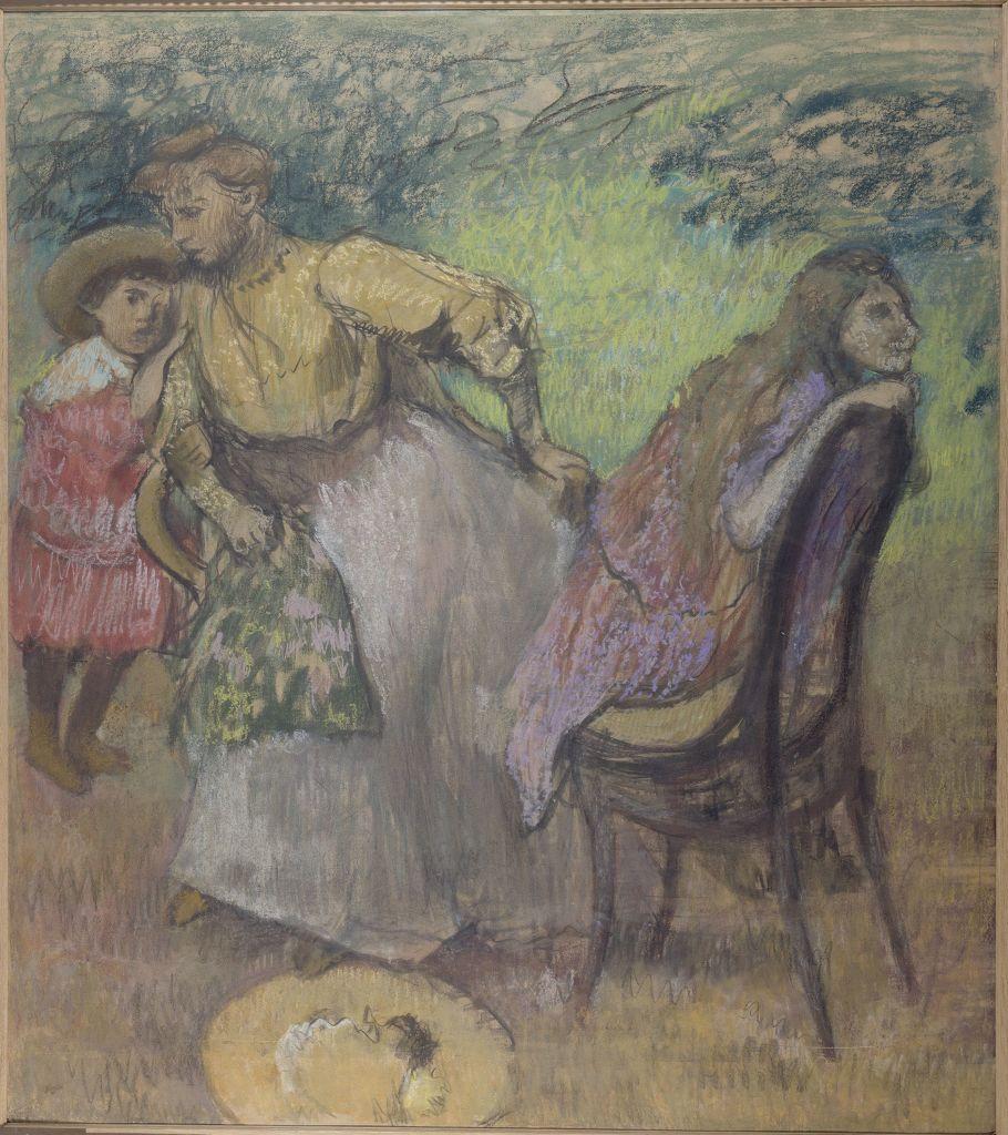 Edgar Degas, Madame Alexis Rouart et ses enfants, vers 1905 - L'art du pastel de Degas à Redon au Petit Palais