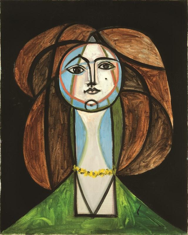 Femme au collier jaune, Pablo Picasso (1881-1973) 31 mai 1946 - Exposition Picasso a Perpignan au Musee d'Art Hyacinthe Rigaud