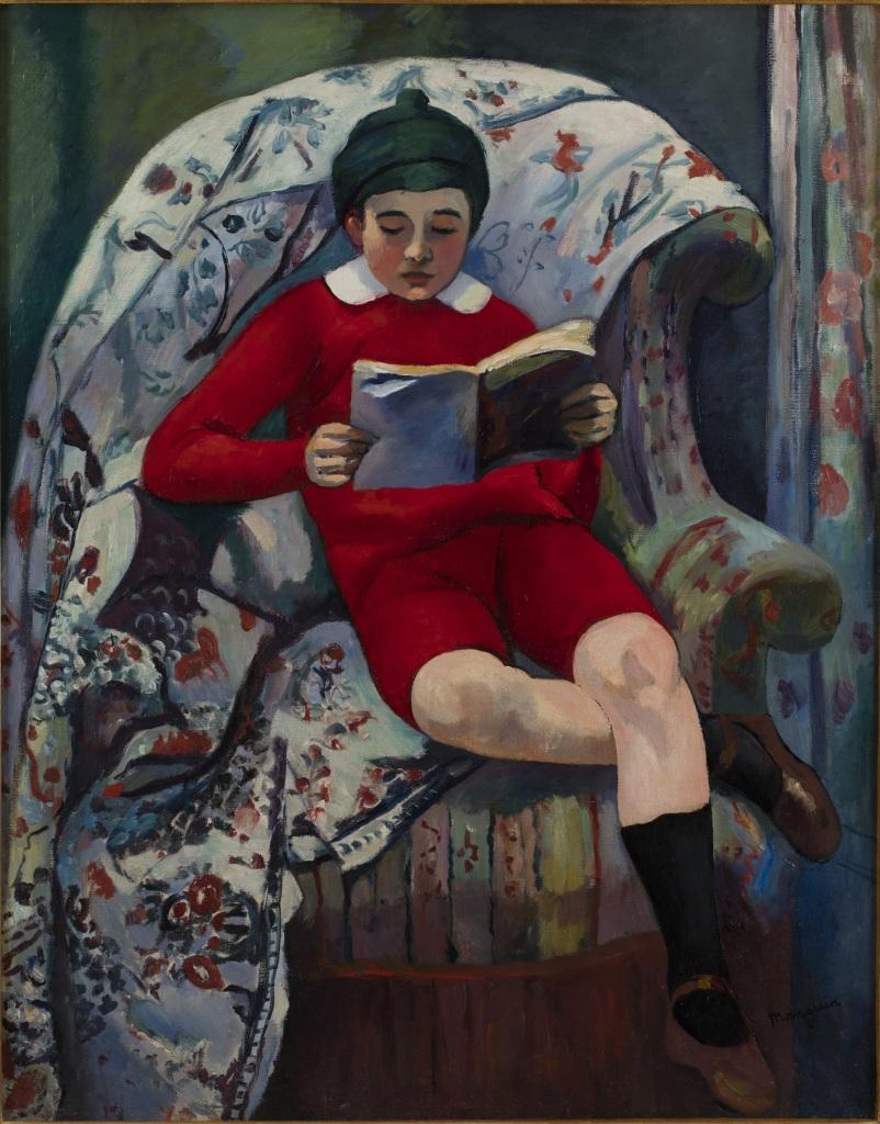 Henri Manguin Claude en rouge lisant, 1909 - La volupte de la couleur au musee des impressionnismes de Giverny