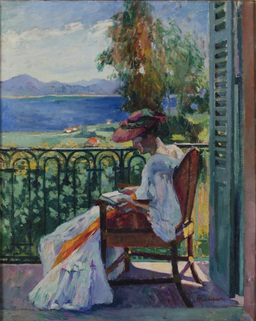 Henri Manguin Jeanne sur le balcon de la Villa Demiere, 1905 - La volupte de la couleur au musee des impressionnismes de Giverny