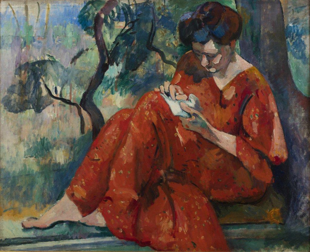 Henri Manguin, La couseuse a la robe rouge - La volupte de la couleur au musee des impressionnismes de Giverny