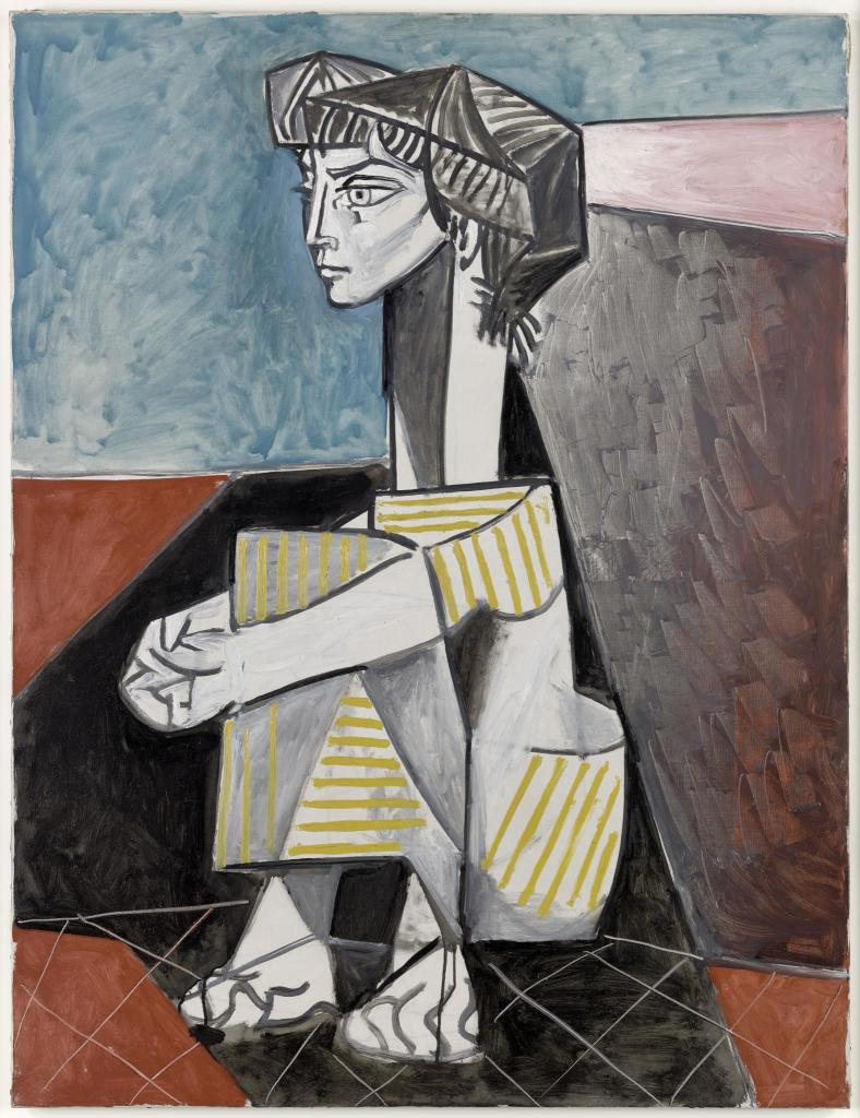 Jacqueline aux mains croisees, Pablo Picasso, Vallauris, 03 juin 1954 - Exposition Picasso a Perpignan au Musee d'Art Hyacinthe Rigaud