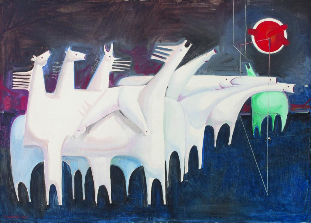 Fatigued Ten Horses Converse with Nothing, Kadhim Haider, 1985 - 100 Chefs d'oeuvre de l'Art moderne et contemporain arabe, la Collection Barjeel a l'IMA