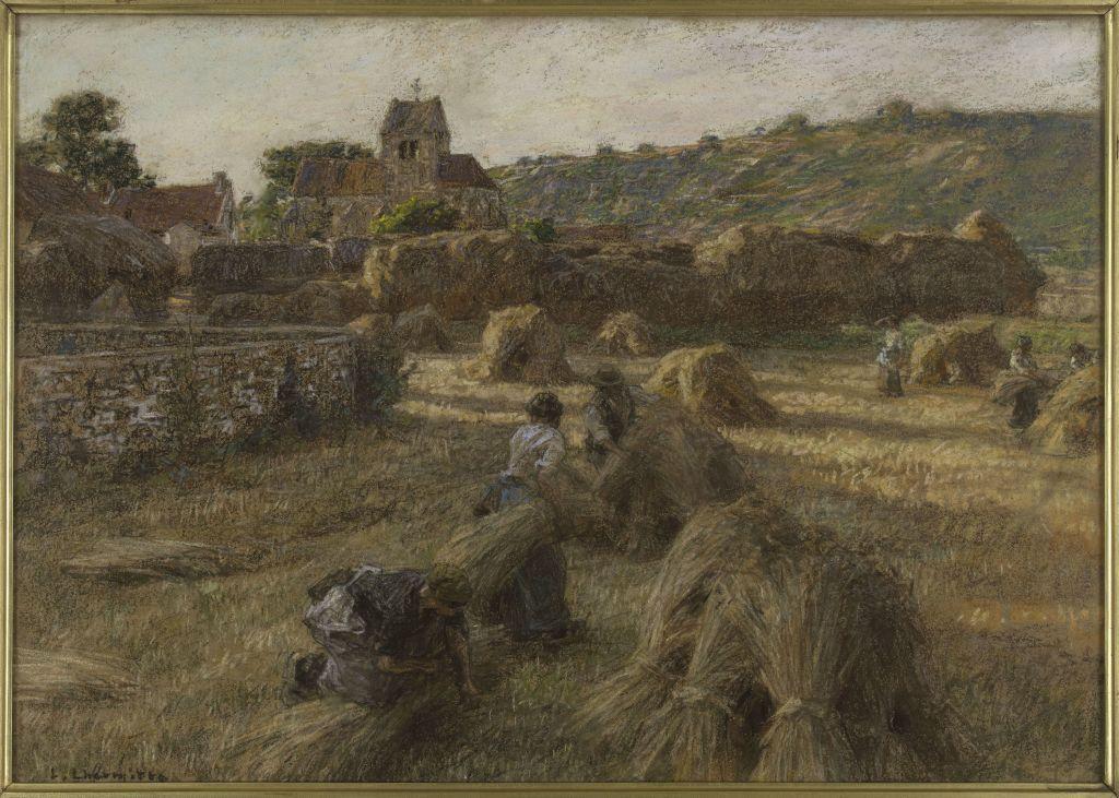 Léon Augustin Lhermitte, La moisson. Les lieuses de gerbes - L'art du pastel de Degas à Redon au Petit Palais