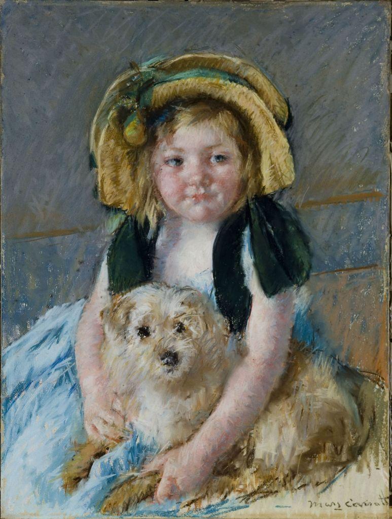 Mary Cassatt, Sara avec son chien, vers 1901 - L'art du pastel de Degas à Redon au Petit Palais