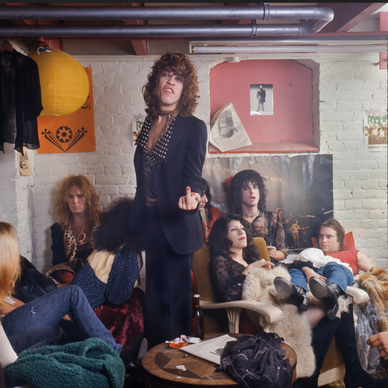 The New York Dolls, dressing room Paradiso, Amsterdam dec 7, 1973 (l/R against wall: Johnny Thunders,  David Johansenn, Arthur Kane, Billy Murcia. (Photo Gijsbert Hanekroot, Redferns)