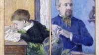 Paul Gauguin, Le sculpteur Aubé et son fils Emile, 1882 - L'art du pastel de Degas à Redon au Petit Palais