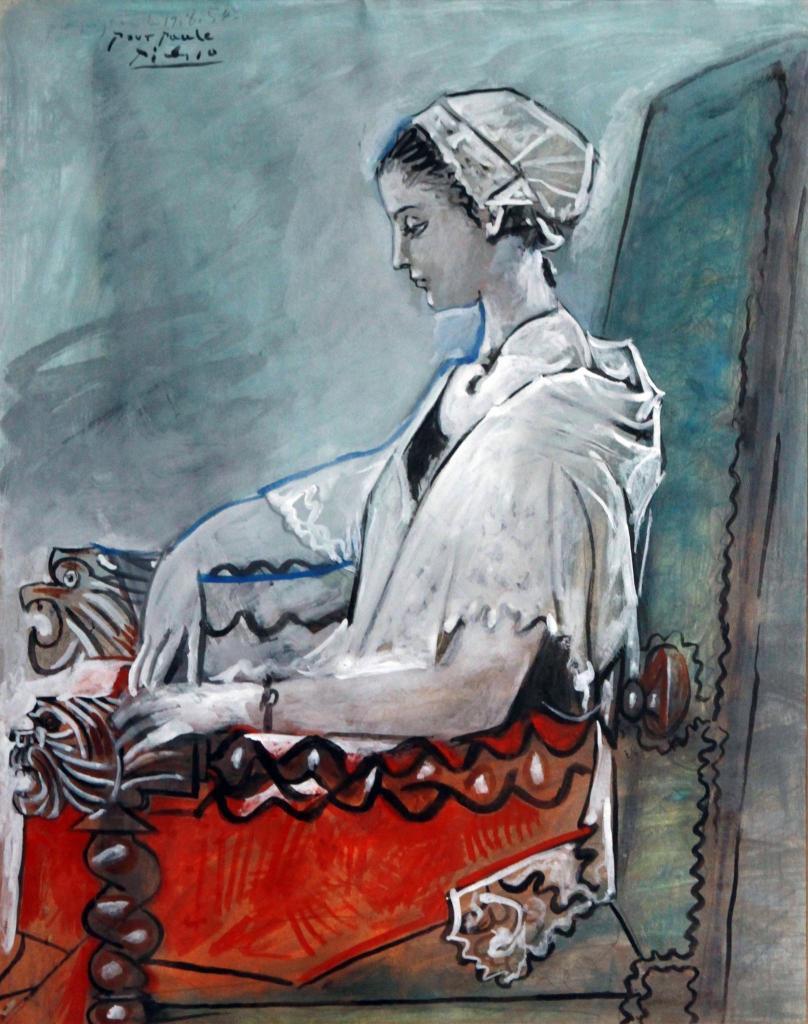 Portrait de Paule de Lazerme en Catalane, Pablo Picasso,19 aout 1954 - Exposition Picasso a Perpignan au Musee d'Art Hyacinthe Rigaud