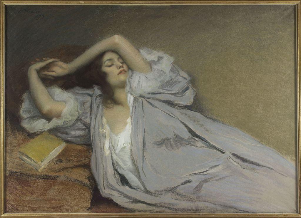 Victor Prouvé, Femme étendue sur un divan, 1899 - L'art du pastel de Degas à Redon au Petit Palais