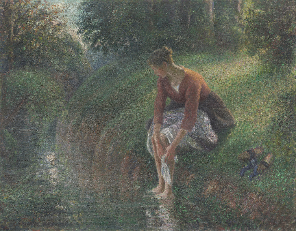 Camille Pissarro, Woman Bathing her eet in a brook- The Art Institute of Chicago