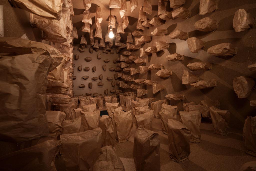 317 prepared dc-motors, paper bags, shipping container, 2016 , Zimoun, Mécaniques Remontées Centre-Quatre