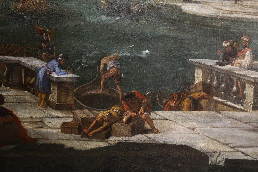 Alessandro Salucci, Vue d'un Canal borde d'architecture, detail - Exposition Heures Italiennes au Mudo de Beauvais