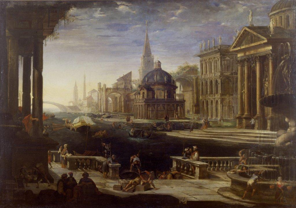 Alessandro Salucci, Vue d'un Canal borde d'architecture - Exposition Heures Italiennes au Mudo de Beauvais