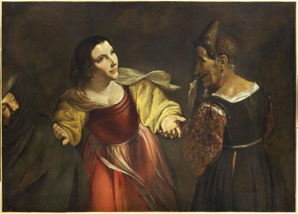 Angelo Caroselli, L'entremetteuse ou la vieille et le jeune galant - Exposition Heures Italiennes au Mudo de Beauvais