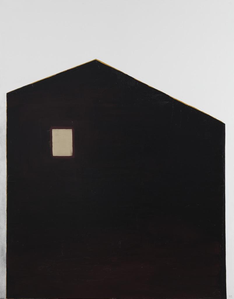 Anna-Eva Bergman, 1976 Maison avec fenêtre d'or, 1976_Acrylique et feuille de métal sur toile - Domaine de Kerguehennec - Bignan