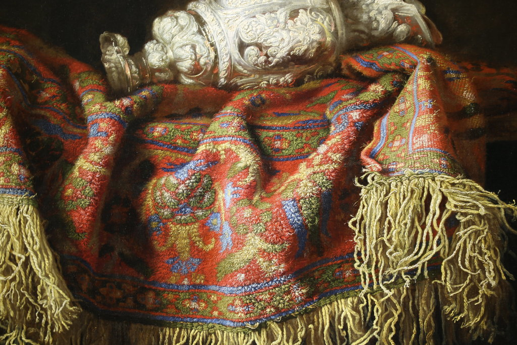 Frances Noletti, Nature morte au tapis et a l'aiguiere, detail - Exposition Heures Italiennes au Mudo de Beauvais