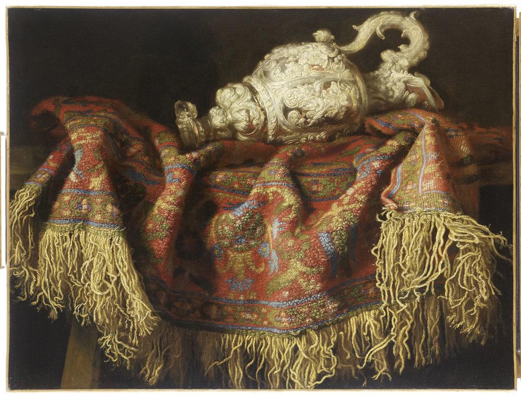 Frances Noletti, Nature morte au tapis et a l'aiguiere - Exposition Heures Italiennes au Mudo de Beauvais