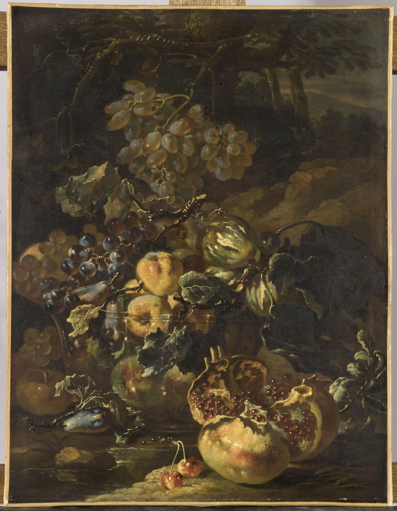 Giovanni Paolo Spadino, Nature morte a la grenade eclatee, vers 1690 - Exposition Heures Italiennes au Chateau de Compiegne