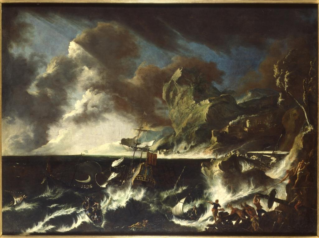 Leonardo Coccorante, Naufrage dans la tempete, 1740-1750 - Exposition Heures Italiennes au Chateau de Compiegne