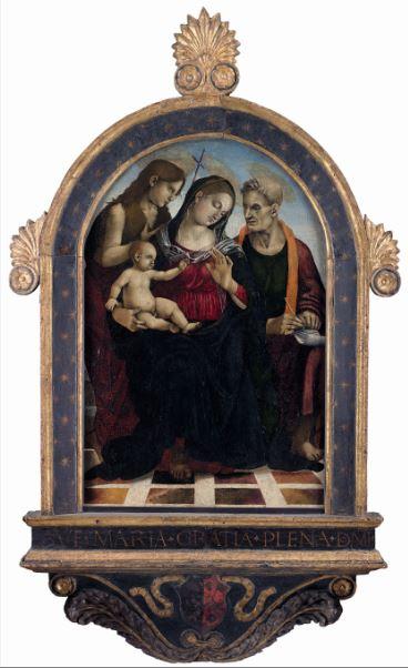 Luca Signorelli, Vierge et l'Enfant avec saint Jean-Baptiste et saint Jean l'Evangeliste, Vers 1490 - Exposition Heures Italiennes au Musee de picardie d'Amiens 2017