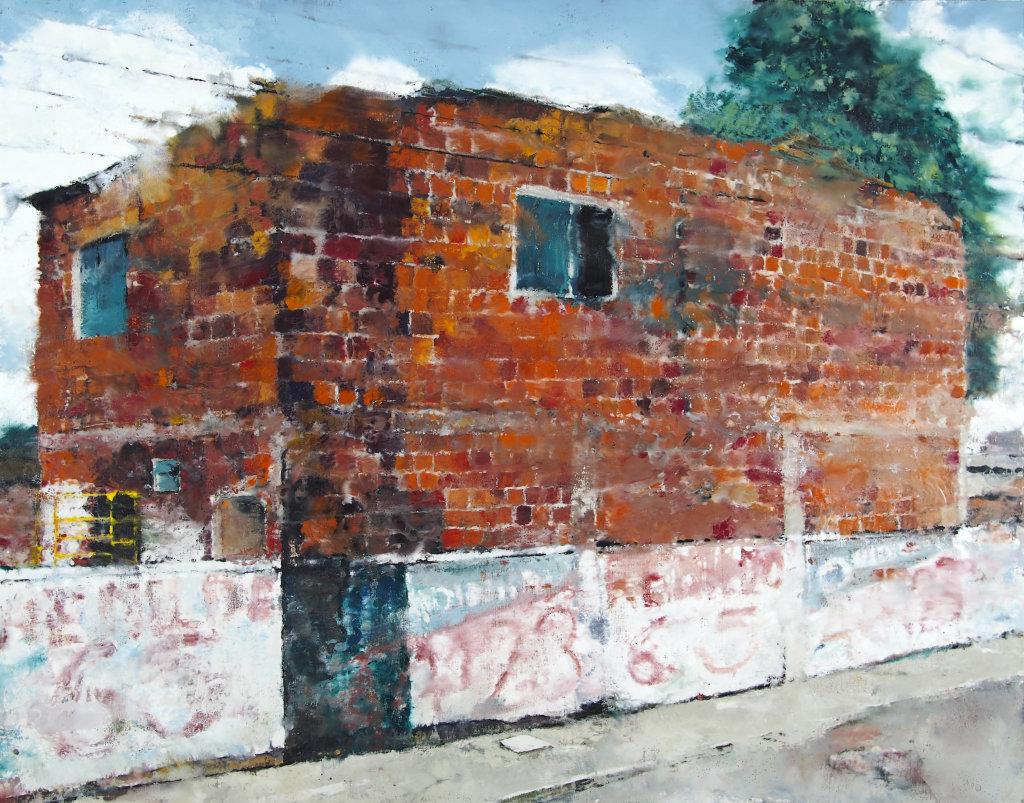 Philippe Cognee Red Bricks and white Wall - 2016 , - Portrait de galeriste - Bernard Templon, institut Magret de Bordeaux