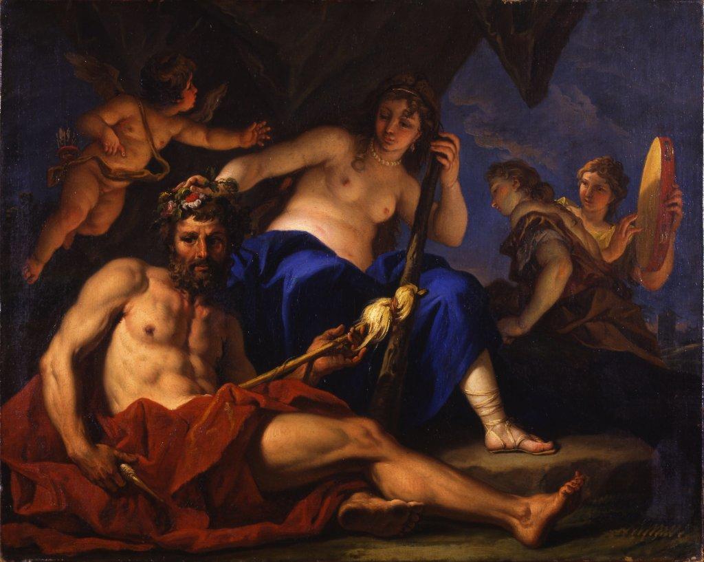 Sebastiano Ricci, Hercule aux pieds d'Omphale, vers 1701 - Exposition Heures Italiennes au Chateau de Compiegne