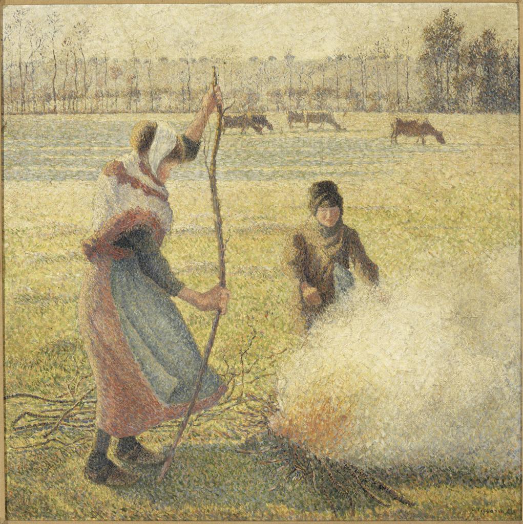 Camille Pissarro a Eragny au Musée du Luxembourg a Paris Jeune paysanne faisant du feu, gelÈe blanche, ou la br˚le des champs