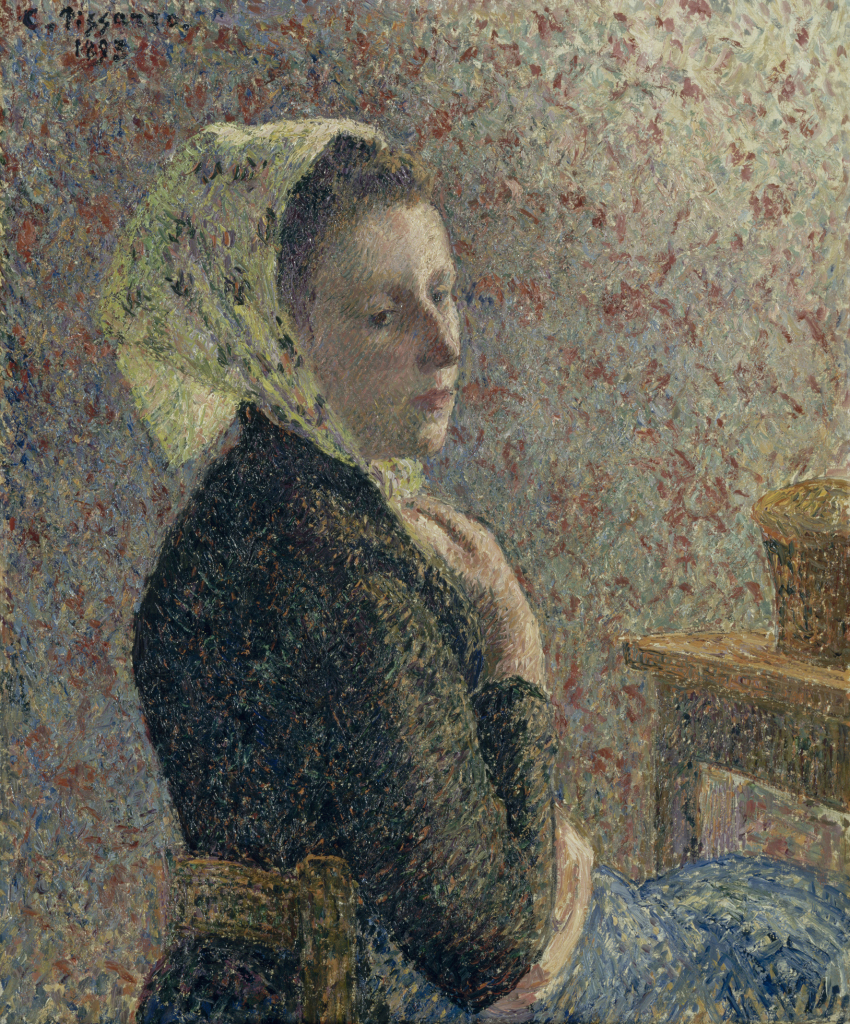 Camille Pissarro a Eragny au Musée du Luxembourg a Paris, Femme a fichu vert