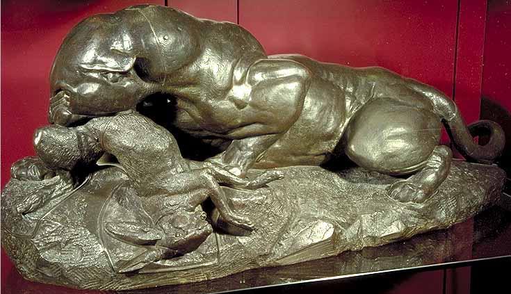 Bayre - Jaguar devorant un lievre - L'art et la matiere - Musee Fabre de Montpellier