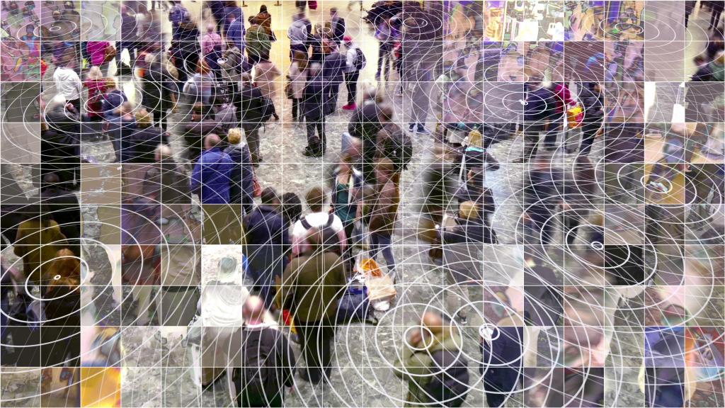 Mosaic pixelated waiting people with radio waves