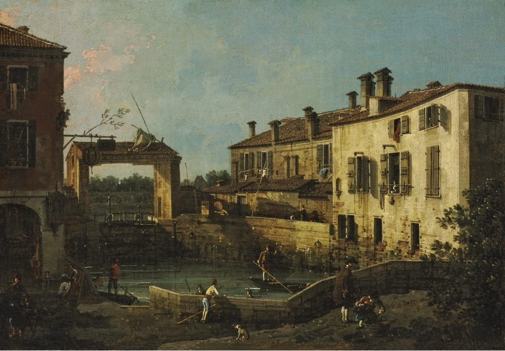 The Lock at Dolo, Giovanni Antonio Canaletto, 1763 - Masterpieces from Budapest. From the Renaissance to the Avant-Garde au Musee Thyssen- Bornemisza – Madrid