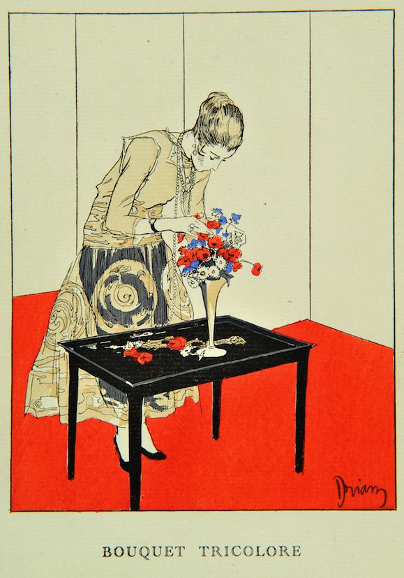 E.-A. Drian, Bouquet tricolore, Gazette du Bon Ton, 1915,Mode et Femmes 14 18, Bibliotheque Forney