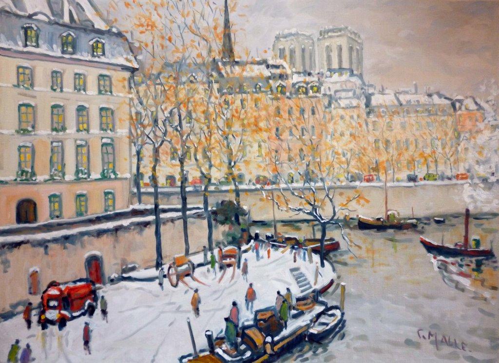 Malle_Paris, la Seine, quai de Bourbons_HST_73x100