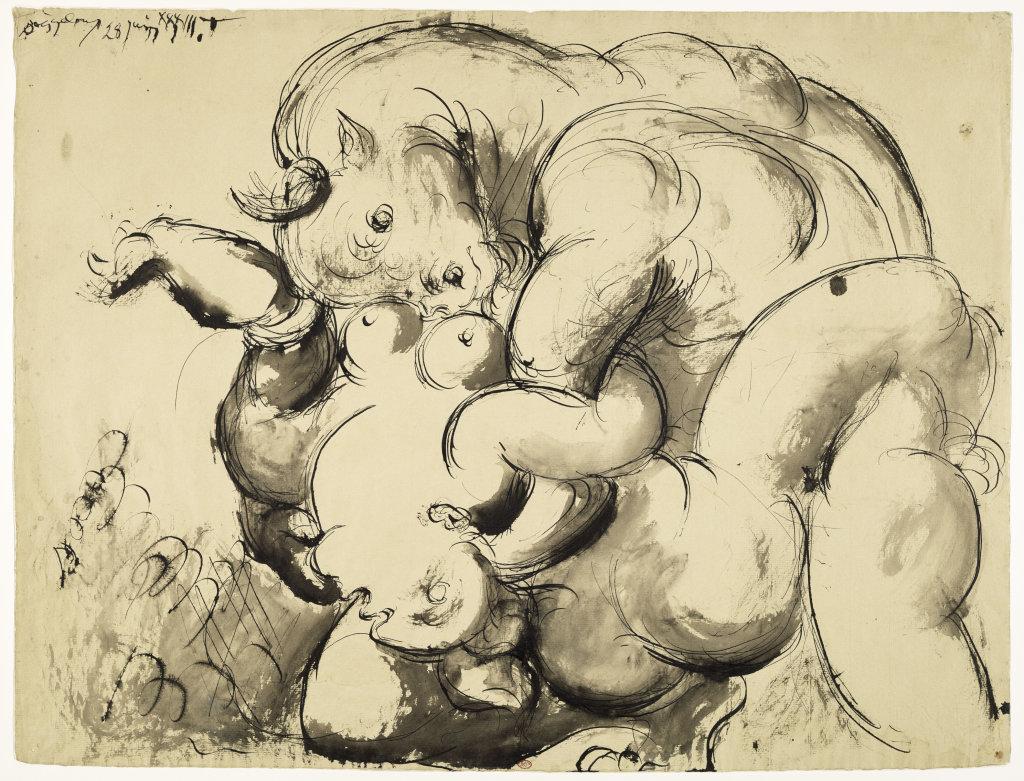 Minotaure violant une femme, Pablo Picasso, 1933 - Olga Picasso Musee Picasso