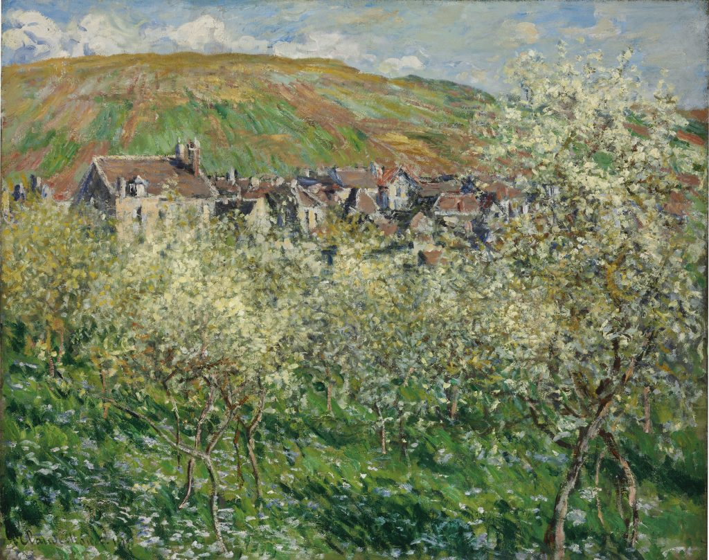 Plum Trees ain Blossom, Claude Monet 1879 - Masterpieces from Budapest. From the Renaissance to the Avant-Garde au Musee Thyssen- Bornemisza – Madrid