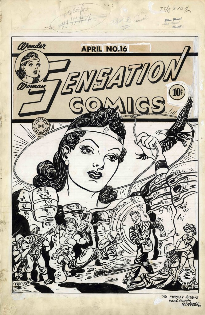 Sensation Comics #16 Cover 1943 Artiste Harry G Peter DETECTIVE COMICS and all related characters and elements