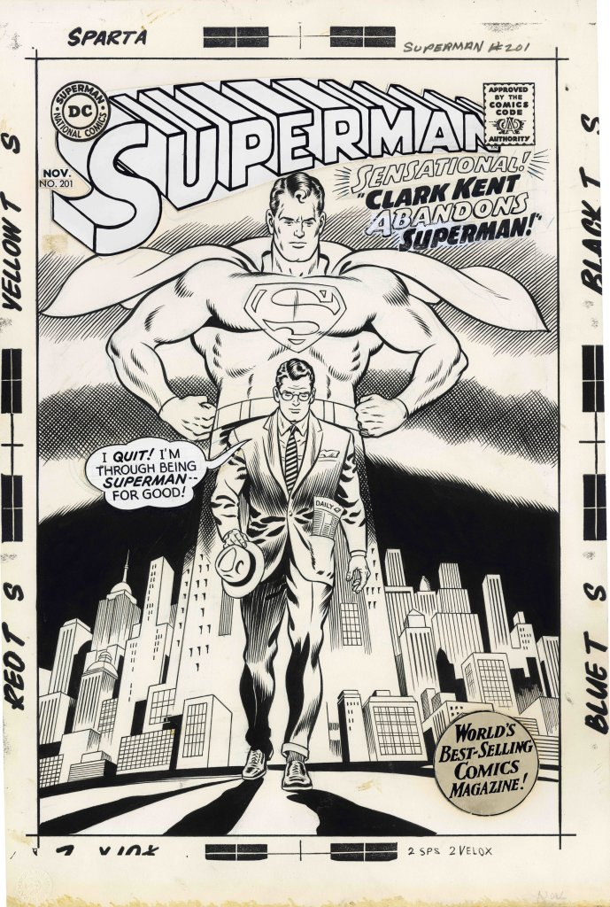 Superman #201 Cover 1967 Artiste Curt Swan Encreur George Klein DETECTIVE COMICS and all related characters and elements